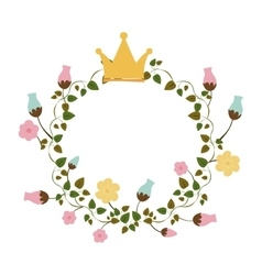 Colorful ornament creepers with flowers with crown vector