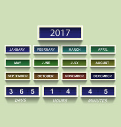 countdown timer 2017 year and month with shadow vector image