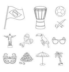 Country brazil outline icons in set collection for vector