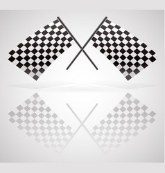 Crossed checkered racing flags vector