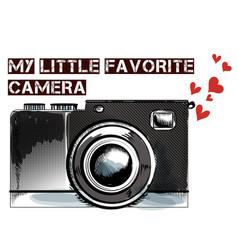 Cute hand drawn vintage camera vector