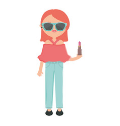 Cute woman with sunglasses and lipstick vector