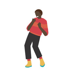 dancing man with flat young vector image