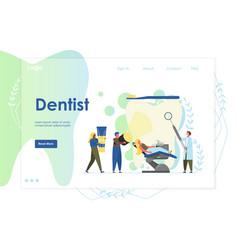 Dentist website landing page design vector