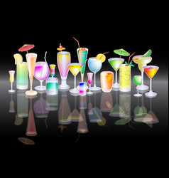 Different alcohol cocktail vector