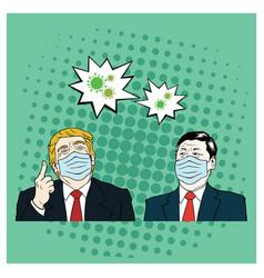 Donald trump meet xi jinping wearing healthy mask vector