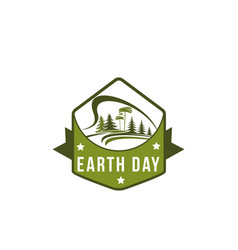 Earth day green nature planet ecology icon vector