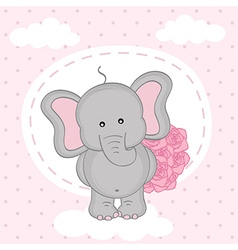 Elephant with bouquet of roses on cloud vector
