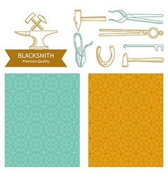 emblem and icons blacksmith vector image