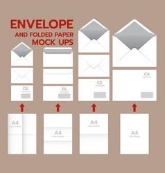 Envelope postal mockup set realistic style vector