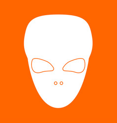 extraterrestrial alien face or head white icon vector image