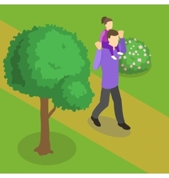 Family Walking Isometric Design vector