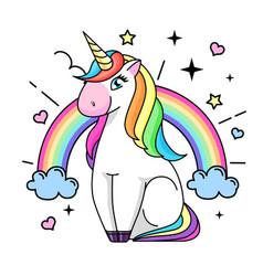 fantasy animal horse unicorn flat style vector image