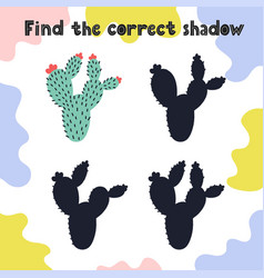 find correct shadow puzzle game for kids vector image