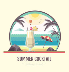 flat style design summer cocktail vector image