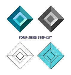 Four-sided step-cut gem cut vector image