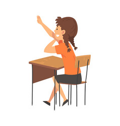 Girl student sitting at desk in classroom and vector