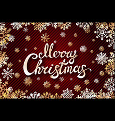 Gold merry chrismas snowflackes lettering perfect vector