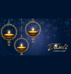 Happy diwali festival banner gold indian candle vector