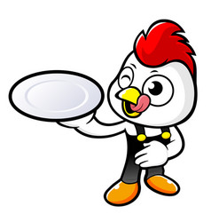 Happy rooster character holding a delicious dish vector
