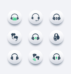 headphones earbuds icons set vector image vector image