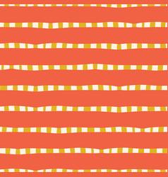 horizontal hand drawn stripes coral pink yellow vector image