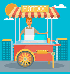 Hot-dog cart with seller - vector