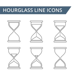 Hourglass line icons vector