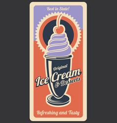 Ice cream dessert retro poster vector