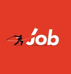 Job cut by businessman artwork depicts vector
