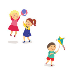 Kids - girls playing ball and boy flying a kite vector