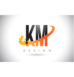 Km k m letter logo with fire flames design and vector