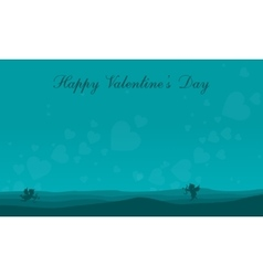 Landscape cupid on the hill valentine collection vector