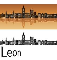 Leon skyline in orange background in editable file vector image