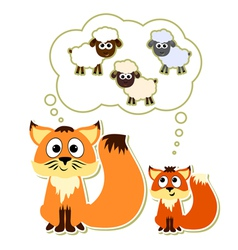 Little fox with his father dreaming about sheep vector