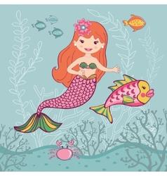 Little mermaid and big fish vector
