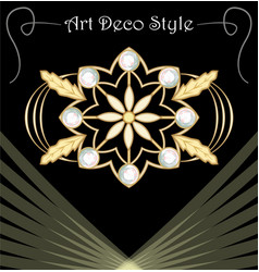 Luxury art deco filigree brooch with floral motifs vector