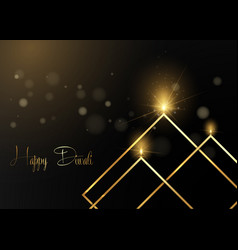 Luxury gold happy diwali indian lights festival vector