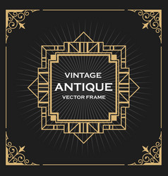 Luxury vintage artdeco frame design vector