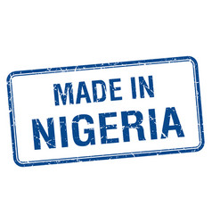 made in nigeria blue square isolated stamp vector image