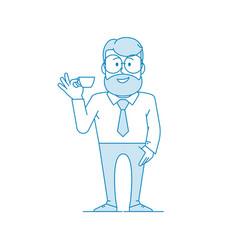 man drinks coffee vector image