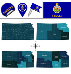Map of kansas with regions vector