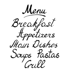 Menu headline handmade brush lettering vector image