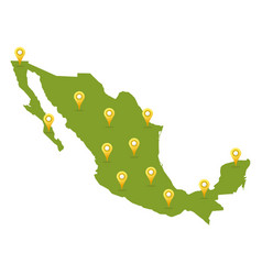 mexico map with pins vector image