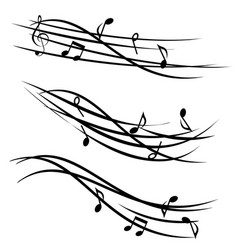 Music notes on ornamental staves vector