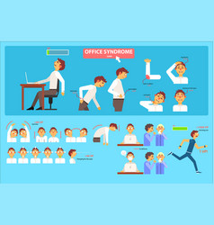 Office syndrome infographics wrong sitting in the vector