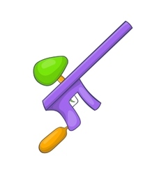 Paintball gun icon in cartoon style vector image