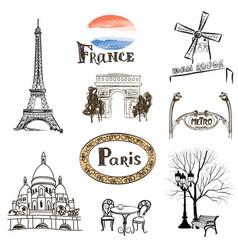 Paris city icons set travel france landmarks vector