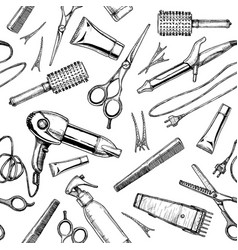 Pattern with hairdressers tools vector
