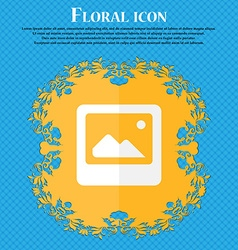 Photo frame template floral flat design on a blue vector